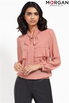 Morgan Fabulous Pussy Bow Tie Neck Blouse