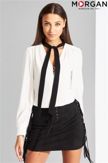 Morgan Open V Neck Tie Up Blouse