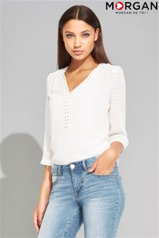 Morgan Studded Floaty V neck Blouse