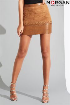 Morgan Leather And Suedette Skirt