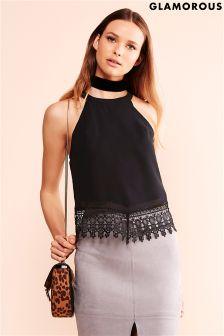 Glamorous Crochet Halterneck Blouse