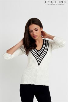 Lost Ink V-neck Rib Jumper