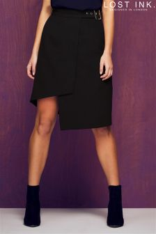 Lost Ink Belted Asymmetric Wrap Mini Skirt