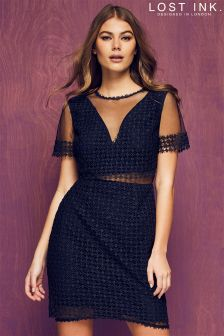 Lost Ink Lace And Mesh Dress