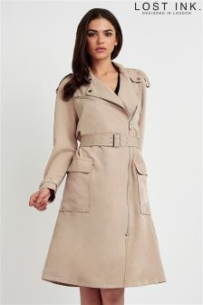Lost Ink Biker Trench Coat
