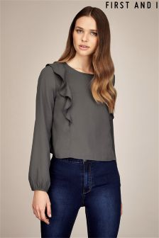 First And I Long Sleeve Ruffle Blouse