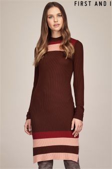 First And I Long Sleeve Striped Bodycon Dress