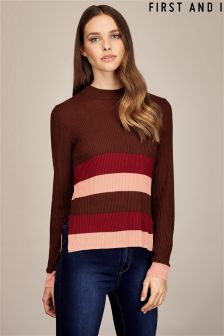 First And I Long Sleeve Rib Striped Jumper