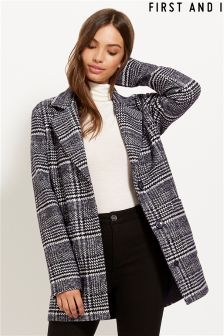 First And I Long Sleeve Houndstooth Coat