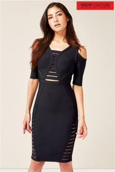 Wow Couture Cold Shoulder Cage Detail Bandage Dress