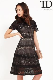 True Decadence Lace Panel Midi Dress