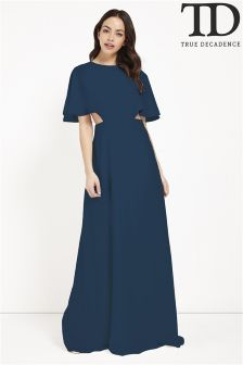 True Decadence Cut Out Cape Maxi Dress