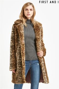 First and I Leopard Print Faux Fur Coat