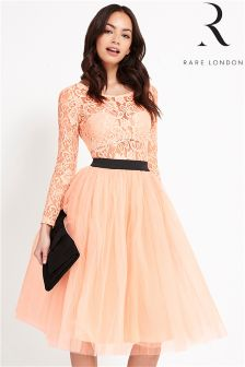 Rare Long Sleeve Lace Tutu Midi Dress