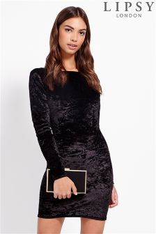 Lipsy Crushed Velvet Cowl Back Dress