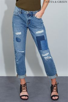 Anita & Green Cropped Patchwork Jeans