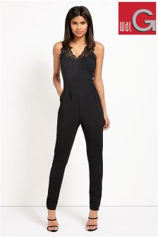 Wal G Lace Trim V-neck Jumpsuit