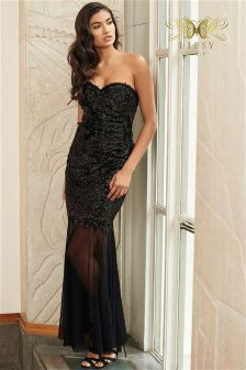 Lipsy VIP Bandeau Foil Lace Maxi Dress
