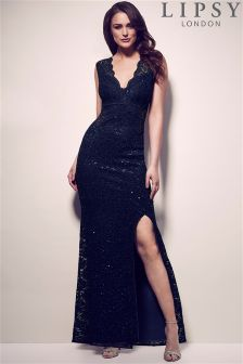 Lipsy Scalloped V Neck All Over Sequin Split Maxi Dress