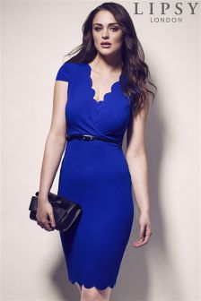 Lipsy Scallop V Neck Belted Dress