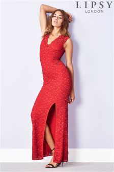 Lipsy Scalloped Sequin Split Maxi Dress