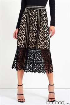 Boohoo Corded Lace Midi Skirt