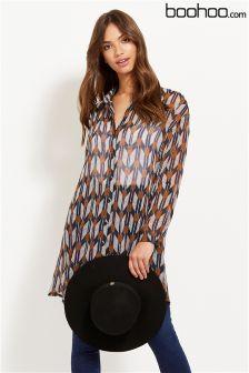 Boohoo Geo Print Shirt Dress