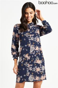 Boohoo Floral Oriental Split Sleeve Shirt Dress