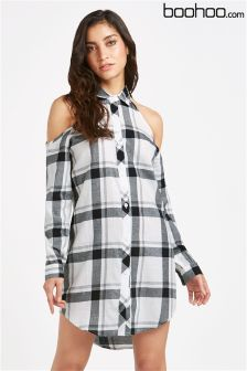Boohoo Cold Shoulder Checked Shirt