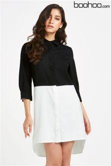 Boohoo Colour Block Shirt Dress