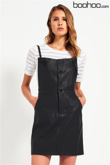 Boohoo PU Pinafore Dress