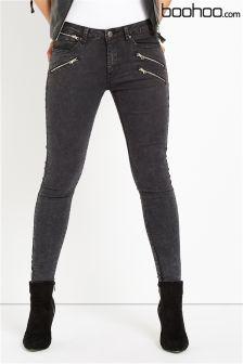 Boohoo Multi Zip Skinny Jeans