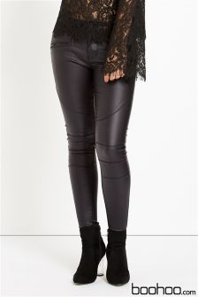 Boohoo Low Rise Wet Look Coated Skinny