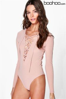 Boohoo Lace Up Rib Body
