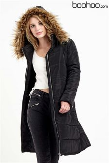 Boohoo Longline Quilted Coat