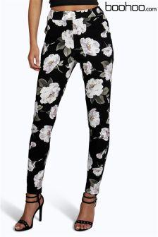 Boohoo Floral Skinny Trousers