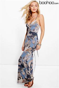 Boohoo Paisley Strappy Back Maxi Dress