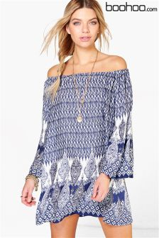 Boohoo Off Shoulder Swing Dress
