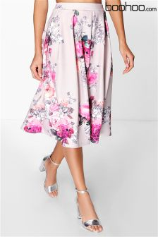 Boohoo Floral Print Full Midi Skirt