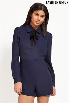 Fashion Union Tie Neck Playsuit