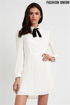 Fashion Union Pleated Tie Neck Dress