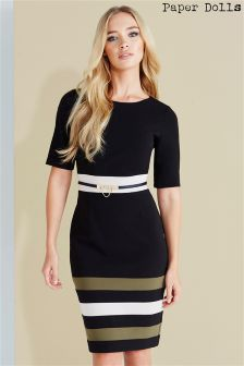 Paper Dolls  Striped Panel Black Dress With Belt