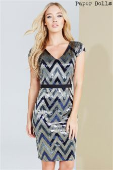 Paper Dolls Zig Zag Sequin Dress
