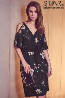 Star By Julien Macdonald Palm Print Belted Dress