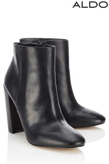 Aldo High Block Heel Leather Ankle Boots