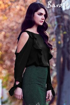 Bardot Flounce Cold Shoulder Top