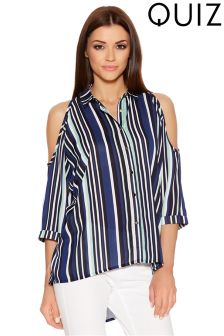 Quiz Crepe Stripe Cold Shoulder Shirt