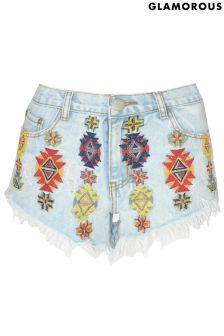Glamorous Embroidered Denim Shorts