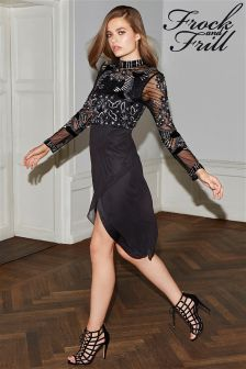 Frock and Frill High Neck Sequin Dress
