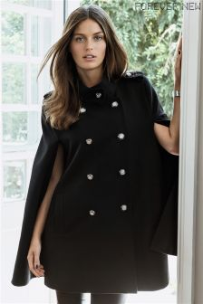 Forever New Button Detail Longline Cape